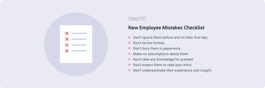 new employee mistakes checklist